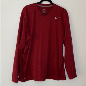 Nike burgundy red long sleeve dri fit shirt XL
